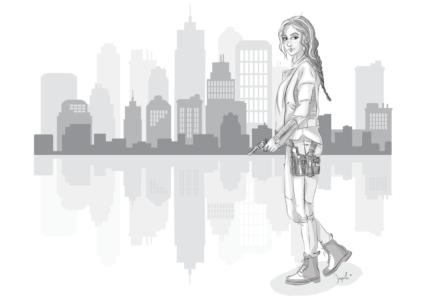 illustration Claire Defontaine en milieu urbain