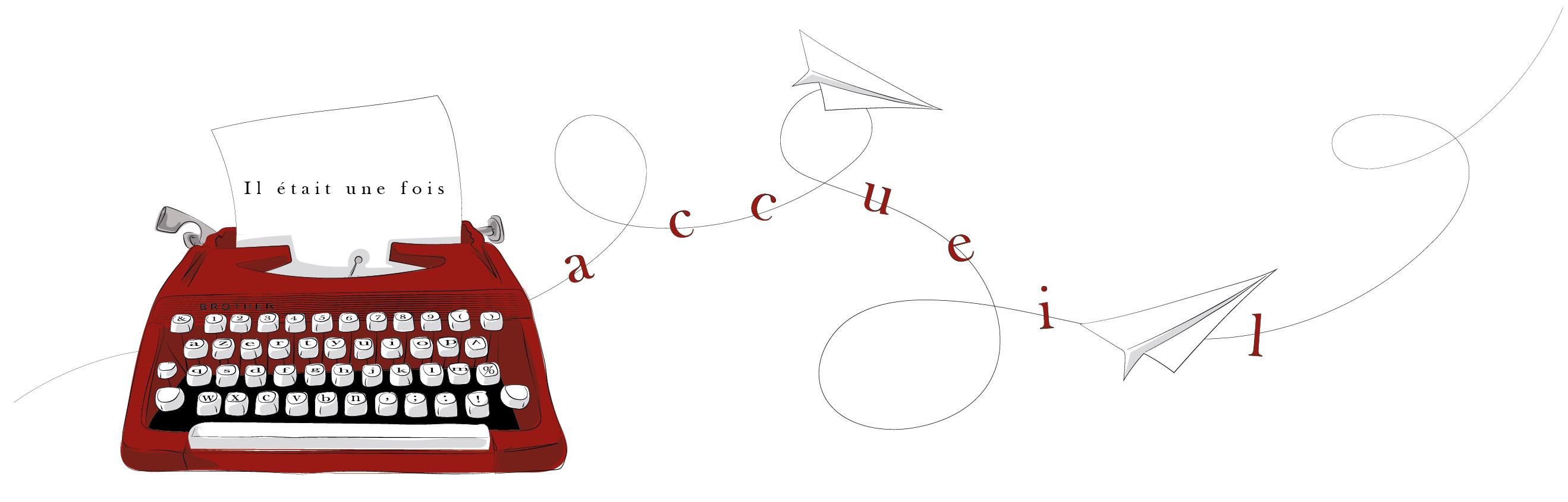 banniere machine à écrire rouge avion en papier accueil