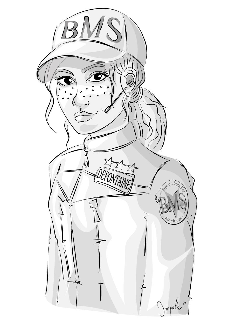 illustration noir blanc Claire Defontaine inspecteur de la BMS